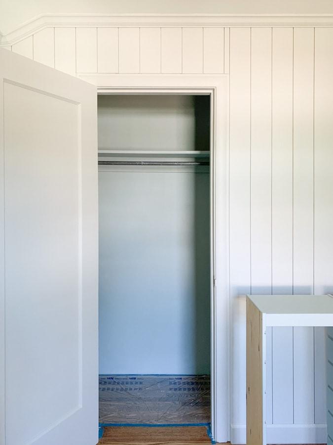 Benjamin moore quiet moment,, closet builtin storage unit, home office closet makeover