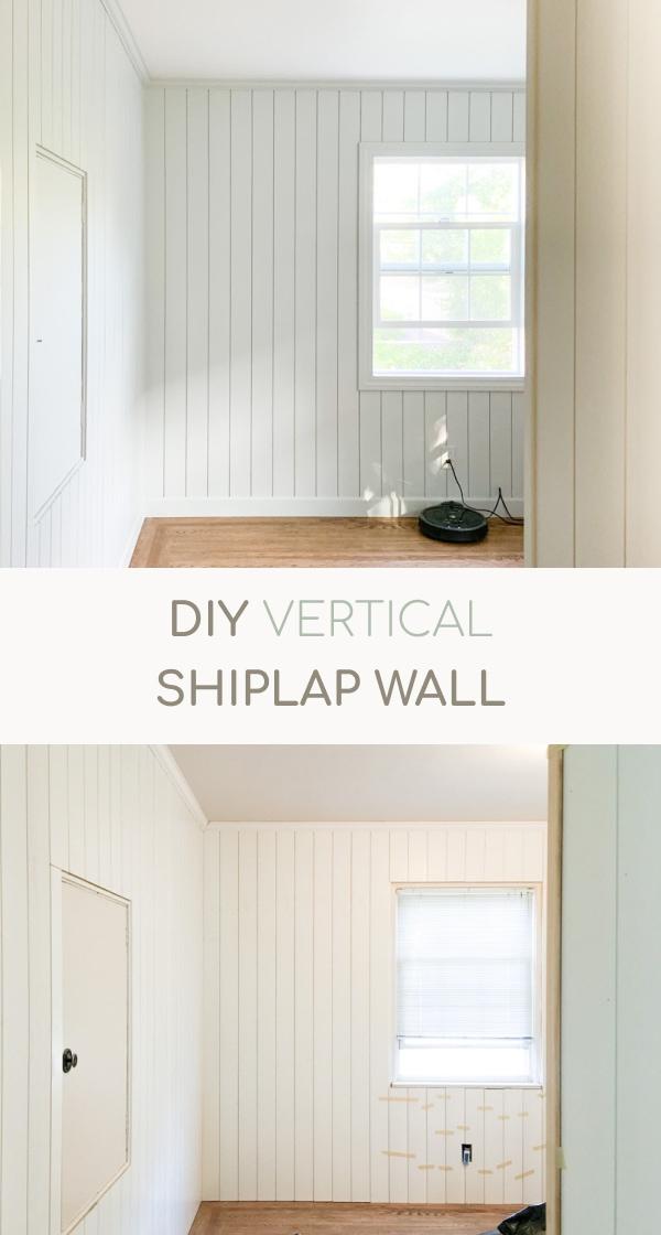 DIY vertical shiplap, vertical panels, benjamin moore moonlight, home office renovation, one room challenge