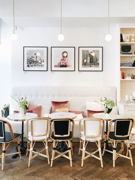 parisian chic, french interior, sezane apartment, modern french dining room lounge