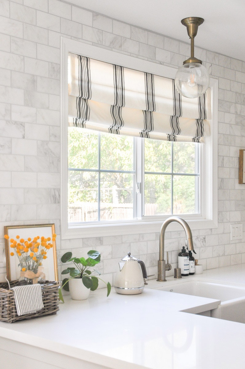 farmhouse kitchen custom roman shades photo