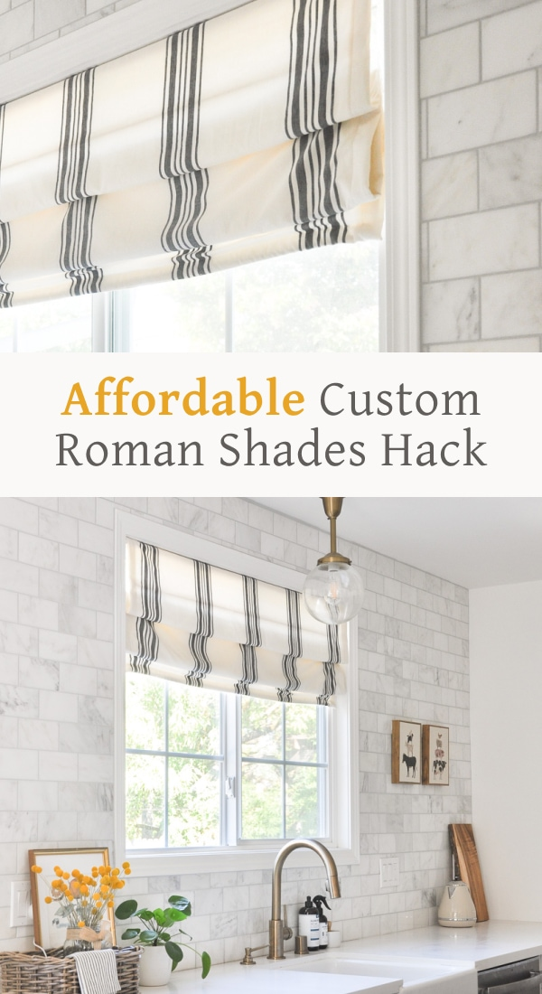 diy kitchen roman shades, affordable farmhouse roman shades, cheap custom roman shades hack
