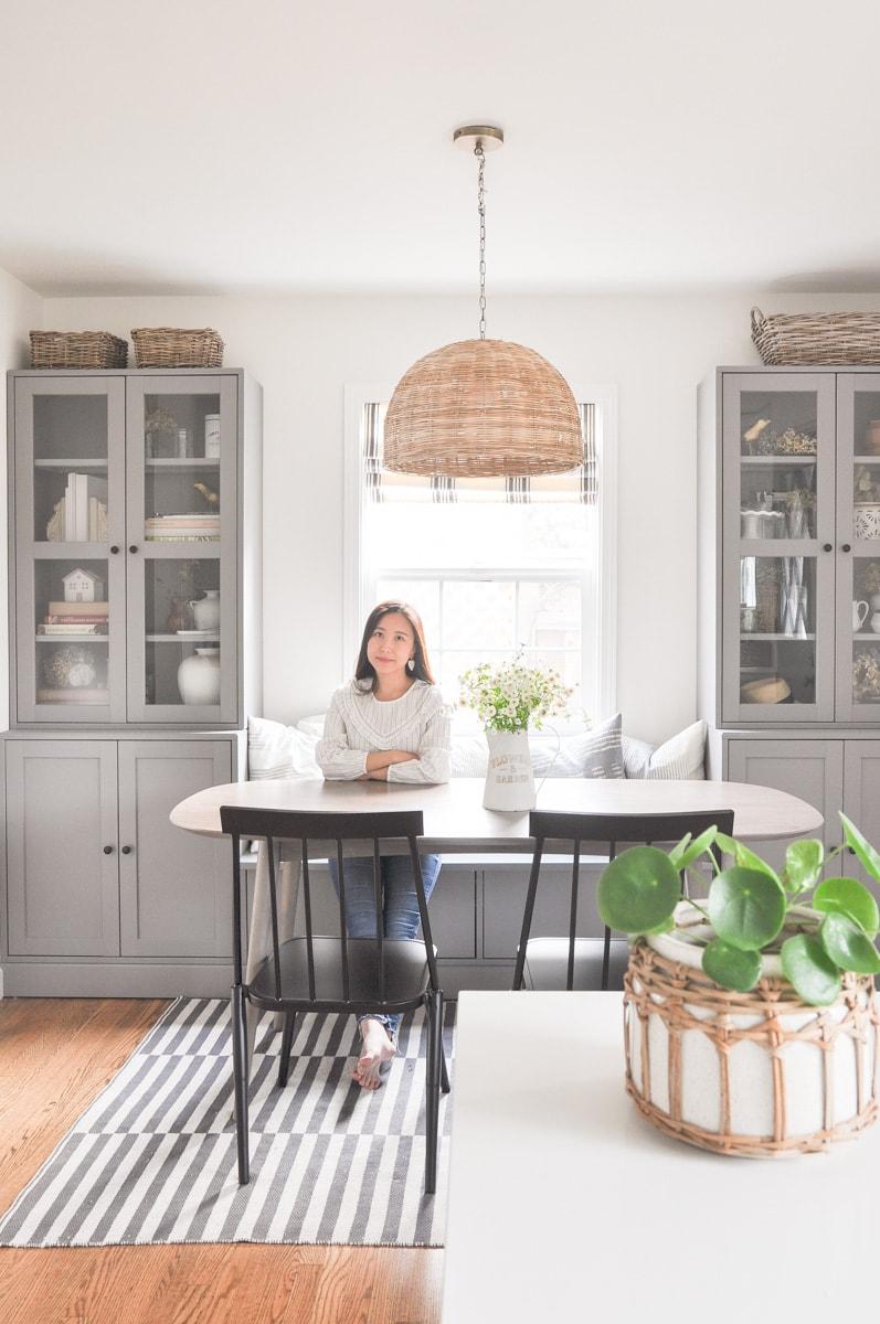 diy ikea banquette seat, havsta hack dining room breakfast nook, cottage style