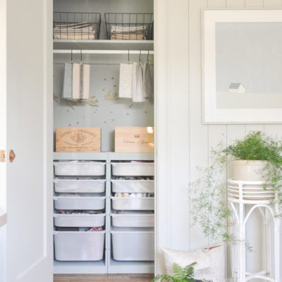 home office craft closet makeover with ikea trofast, european inspired, crafting room, neutral interior, closet organization, craft supply organization