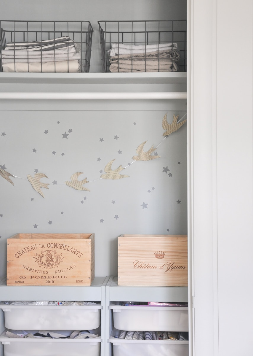 small closet design inspiration with vineyard wine crate, european inspired