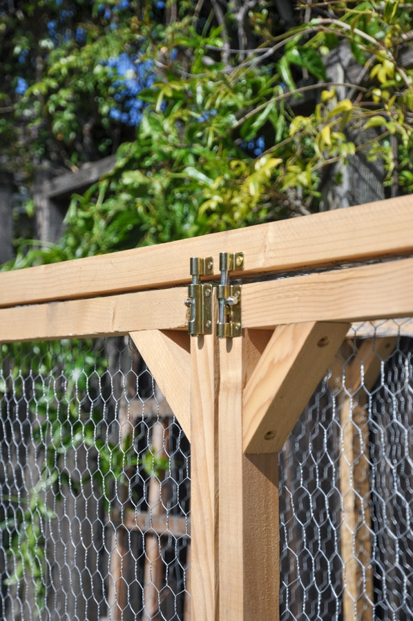 raised bed fence with hinges and doors