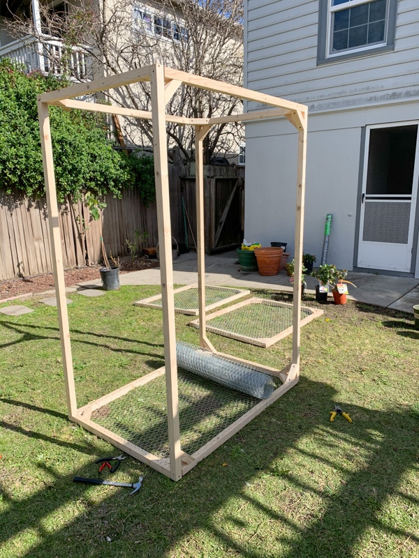 diy raised garden bed cage with chickenwire, protective cage cover