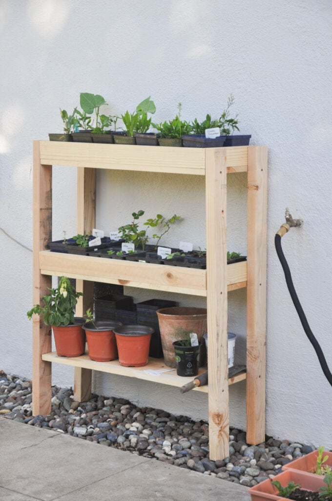 DIY outdoor plant stand with shelves