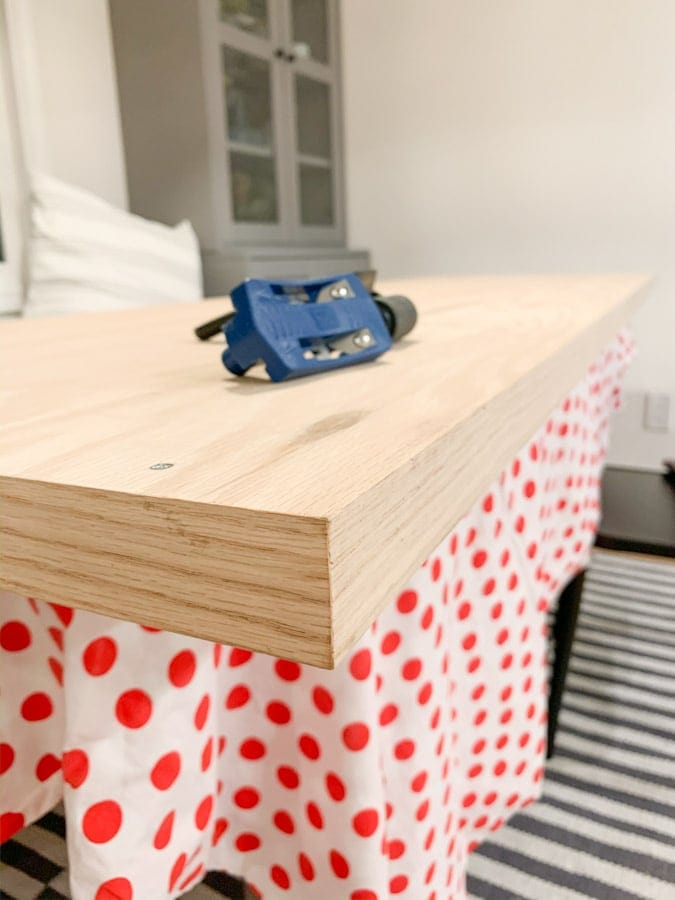 create faux thick wood table top board, DIY home office remodel