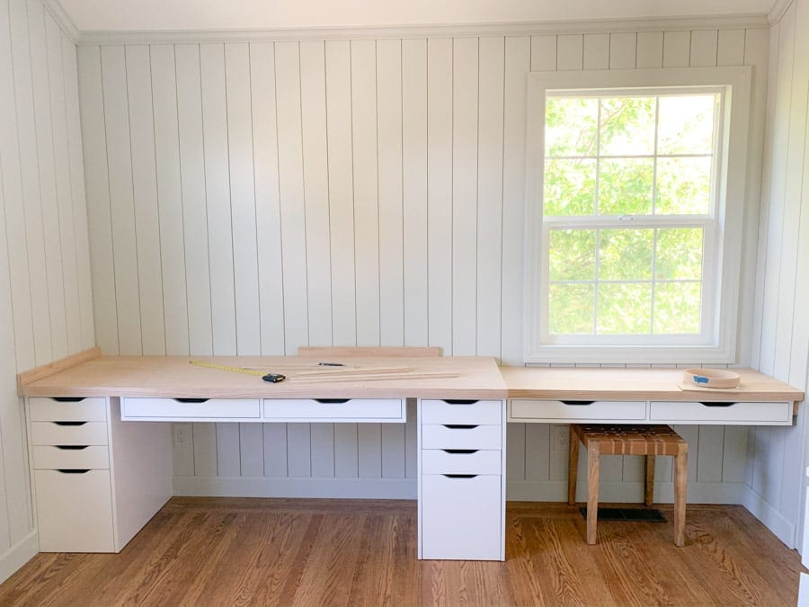 DIY home office remodel with ikea alex desk and drawer hack