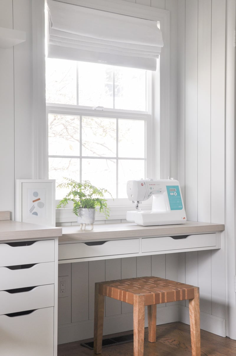 DIY home office built-in with ikea ekby alex shelf with drawers
