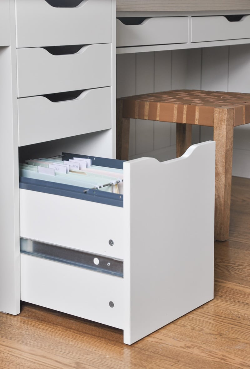 ikea alex drawer unit with drop file storage, DIY home office built-in with ikea alex drawer unit