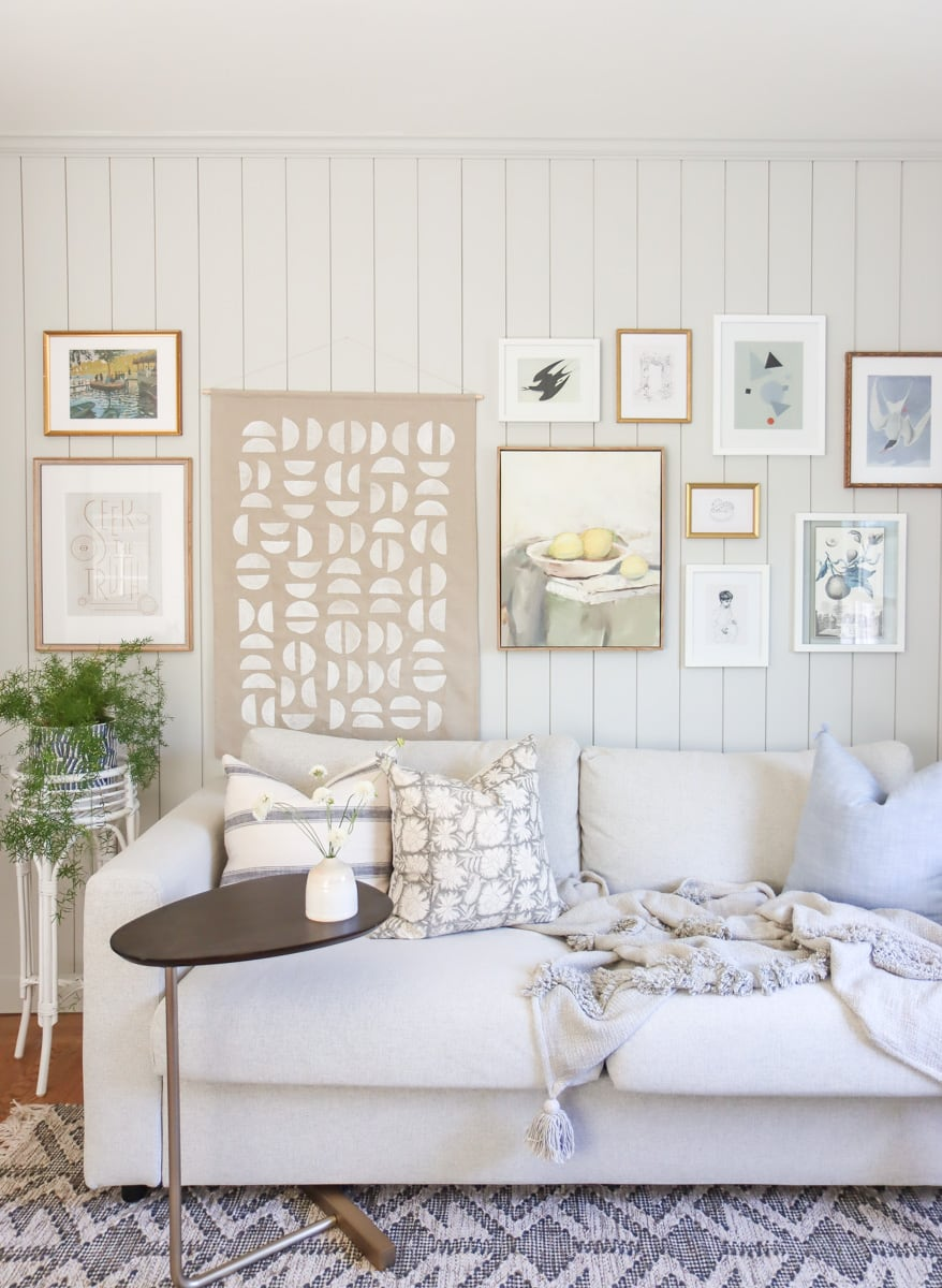 DIY large scale wall hanging for gallery wall