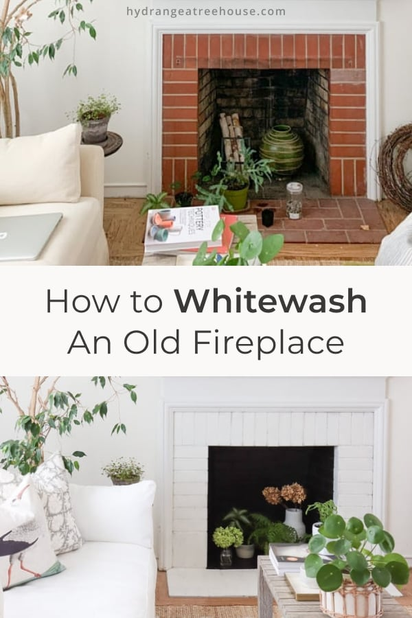 How to limewash an old brick fireplace - whitewashing fireplace makeover