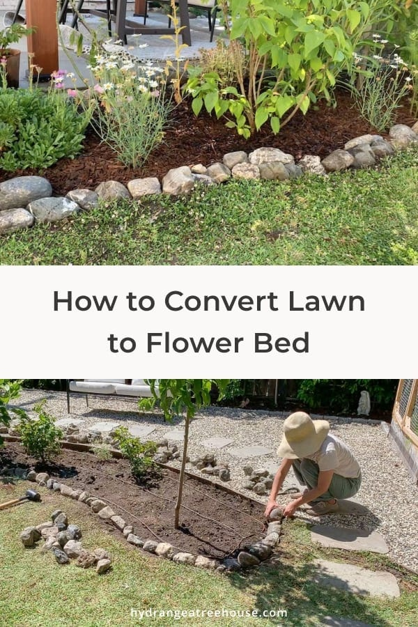 how to convert lawn to flower bed, diy garden landscaping, lawn to garden