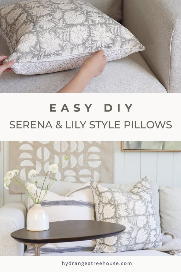 Easy DIY throw pillows covers with zipper, inspired by Serena and Lily but cost less.