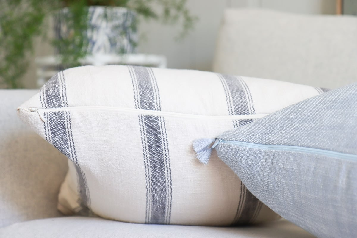 DIY invisible zipper throw pillow covers with tassels, serena & lily inspired