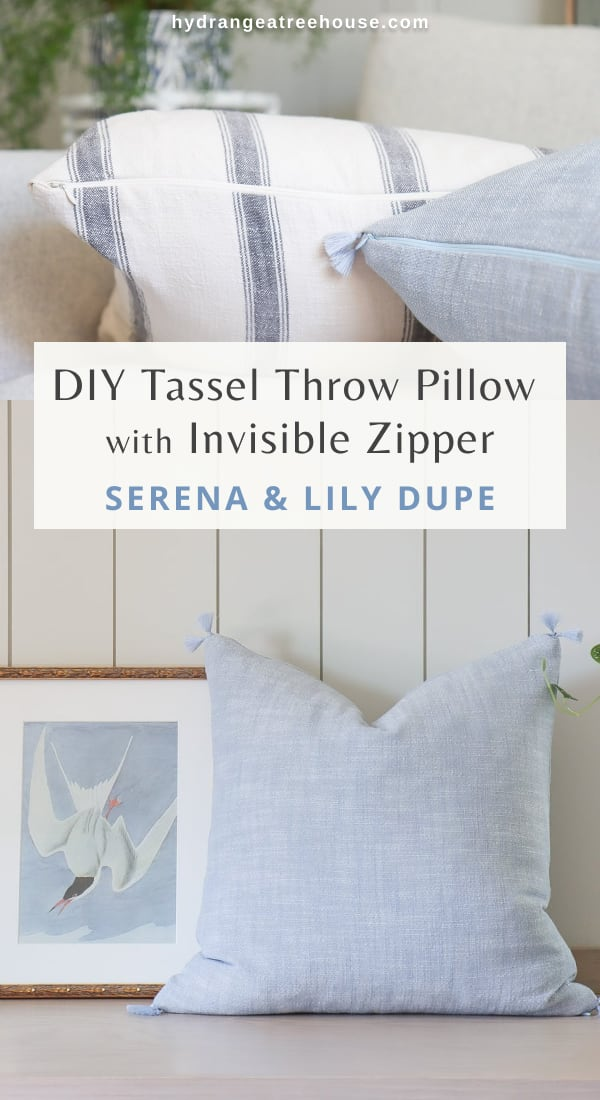 Easy DIY tassels throw pillows covers with invisible zipper, Serena and Lily dupe for less