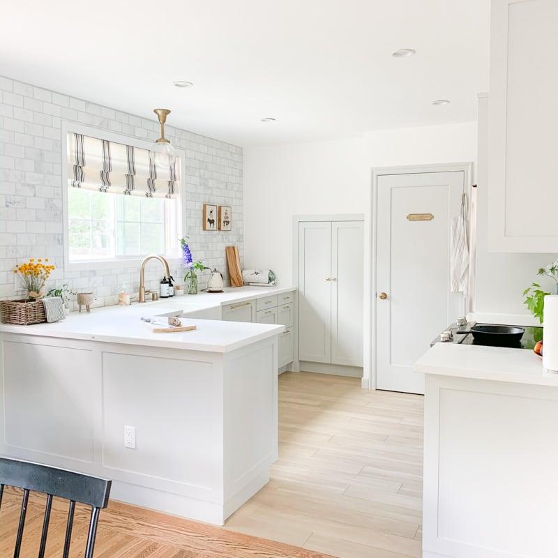 small ikea kitchen ideas, light gray kitchen in benjamin moore gray owl kitchen cabinets