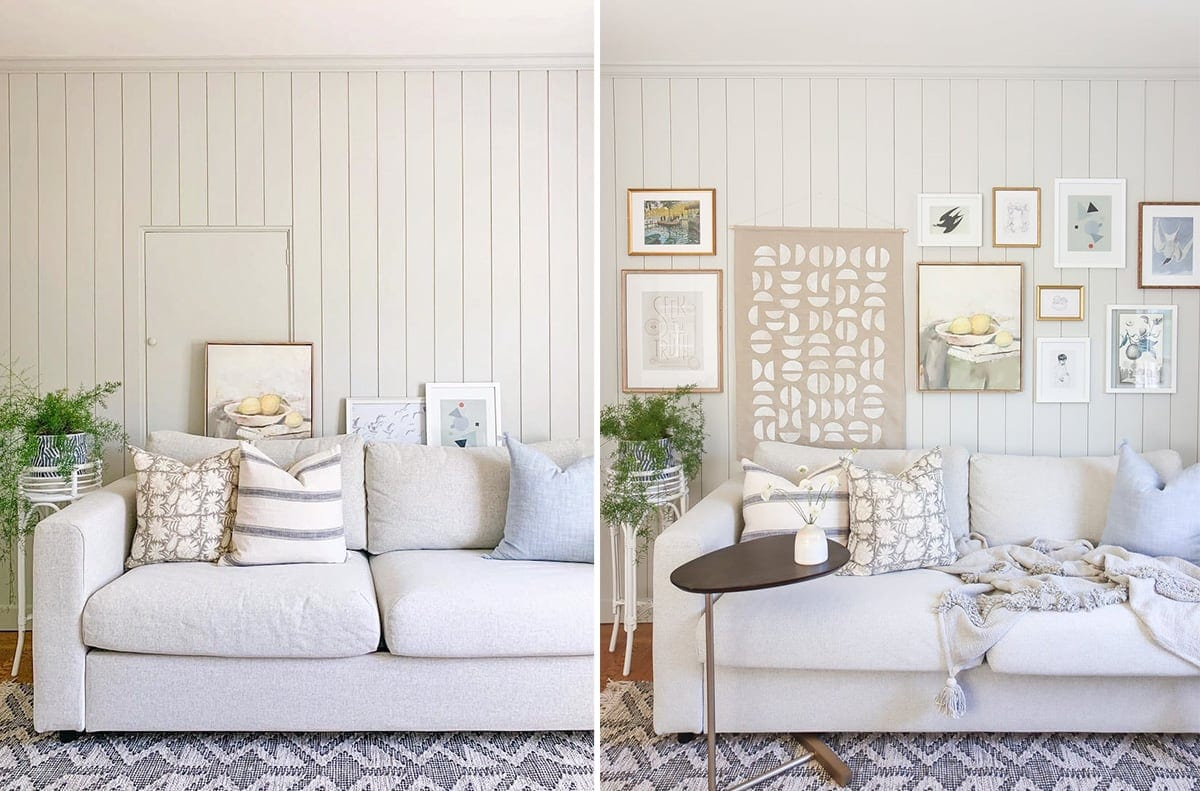 before after gallery wall