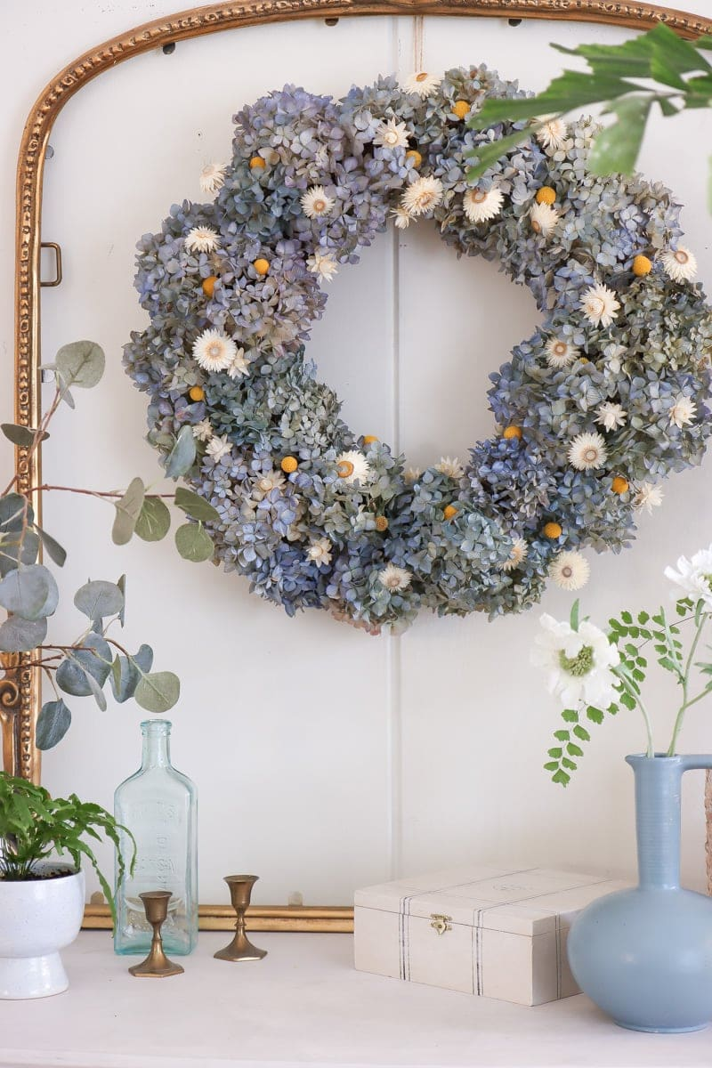 DIY dried flower wreath with nikko blue and endless summer hydrangeas
