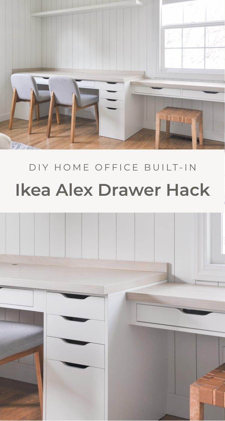 Home office desk built-in with Ikea Alex drawer hack, ikea alex drawer organization