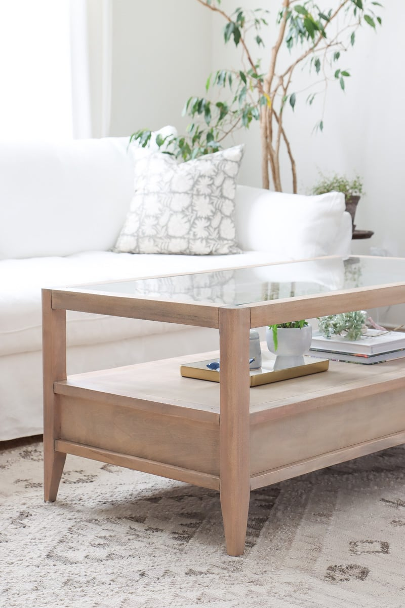 glass top coffee table makeover