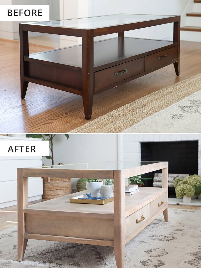 Coffee table makeover before and after photo