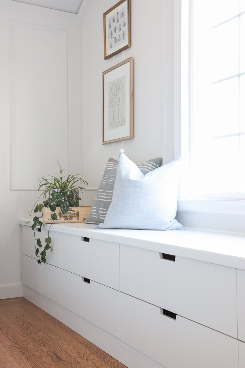 Ikea window seat DIY with Nordli drawer chest