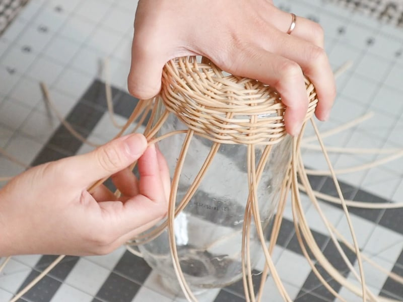 wicker bottle vase DIY