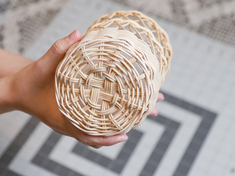 DIY rattan wrapped glass vase