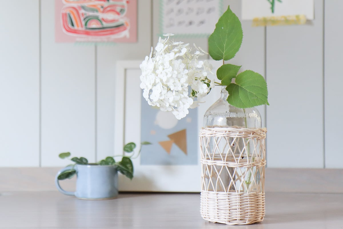 How to upcycle glass bottles and jars with rattan reeds