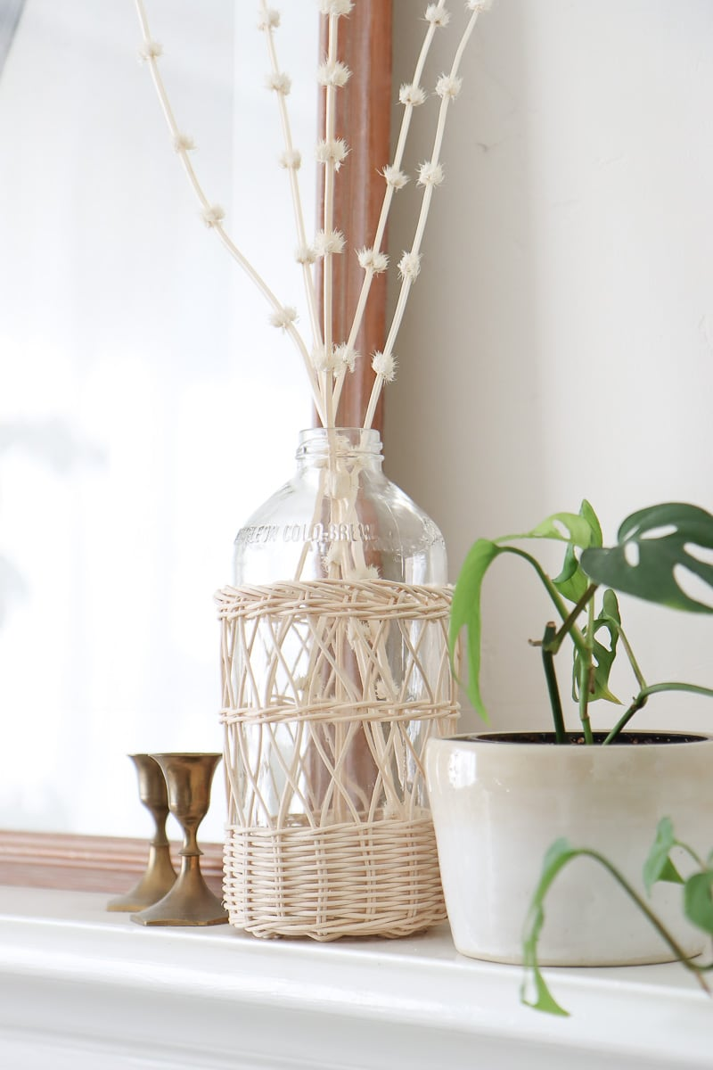 wicker covered glass bottles DIY