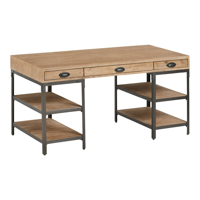 rustic farmhouse desk with shelving and drawers