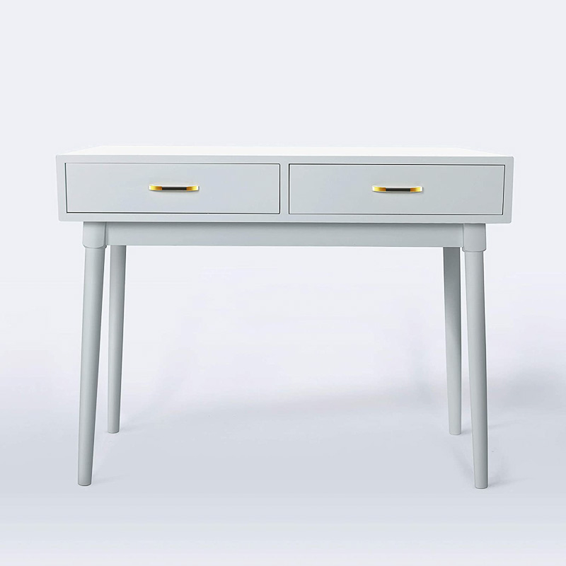 modern light gray desk with drawers storage