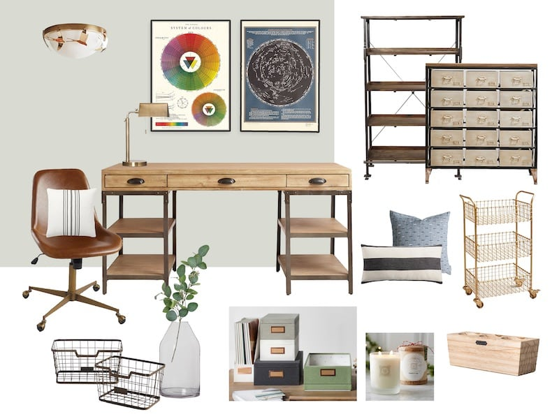 mood board home office desk with drawers