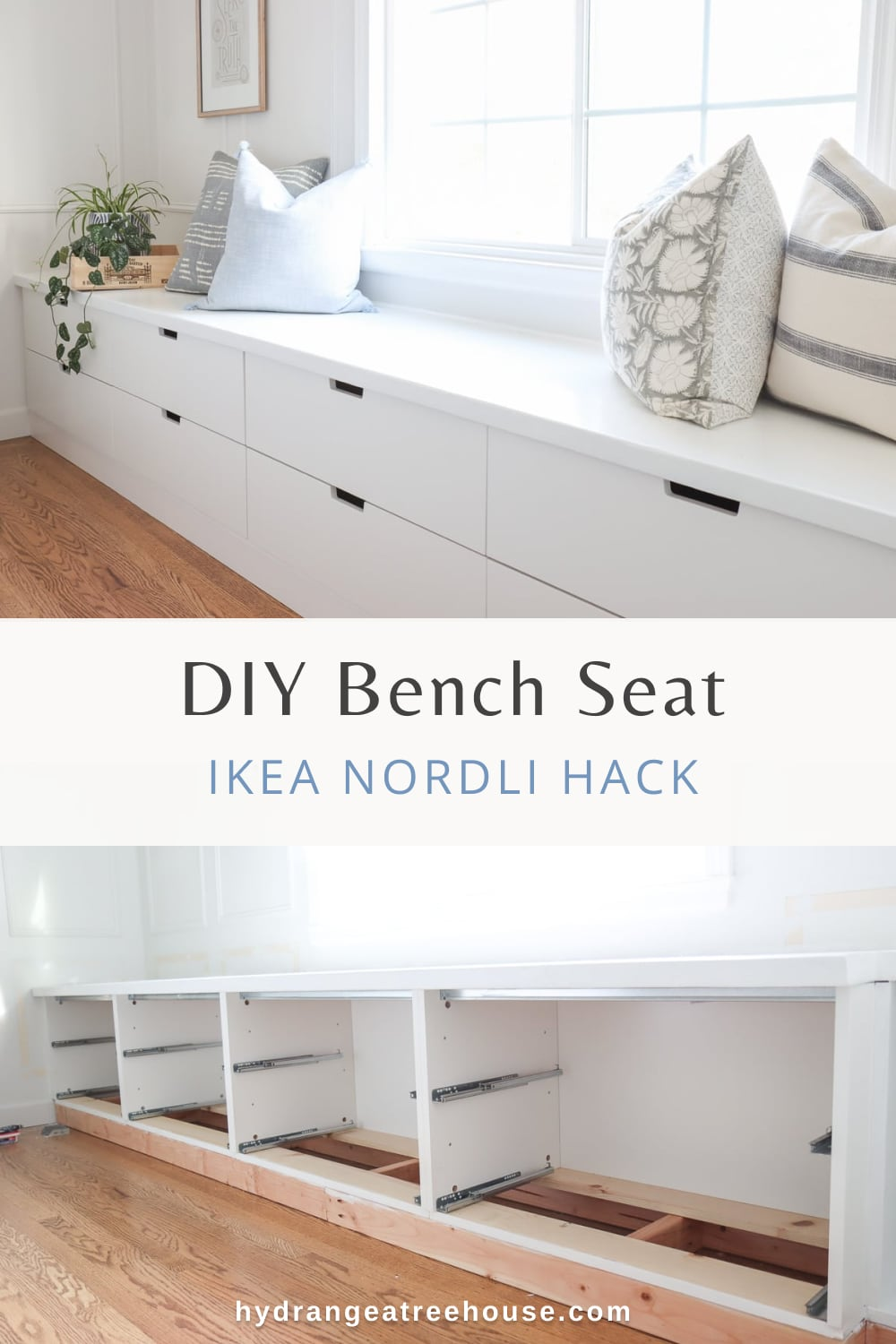 DIY Ikea window seat DIY with Nordli drawer hack