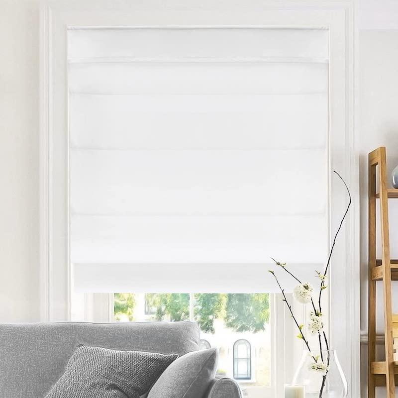 white light filtering roman shade kitchen