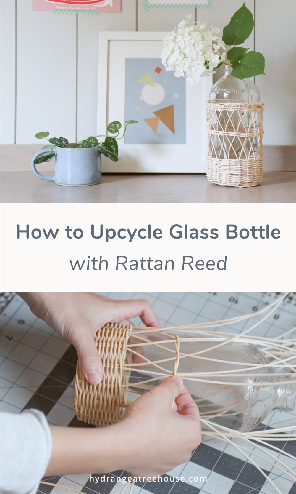 How to upcycle used glass bottles and jars with rattan reed - basket weaving for beginners