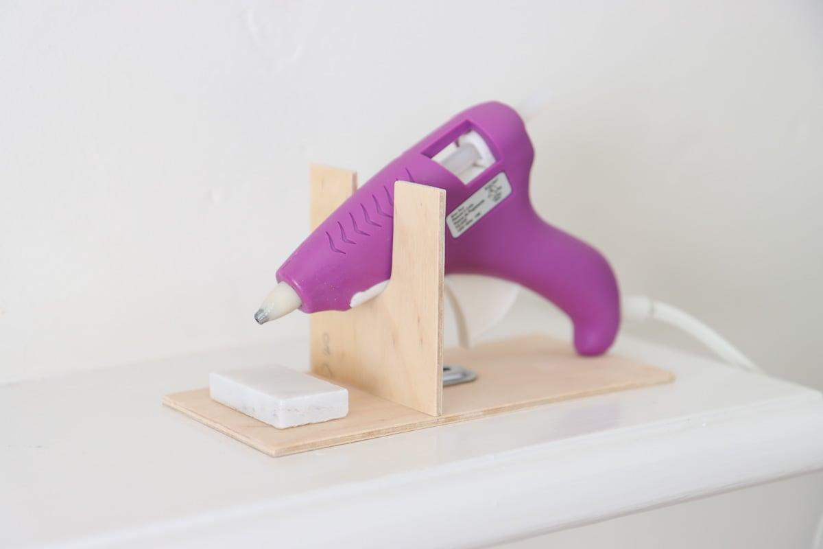 DIY wooden glue gun holder