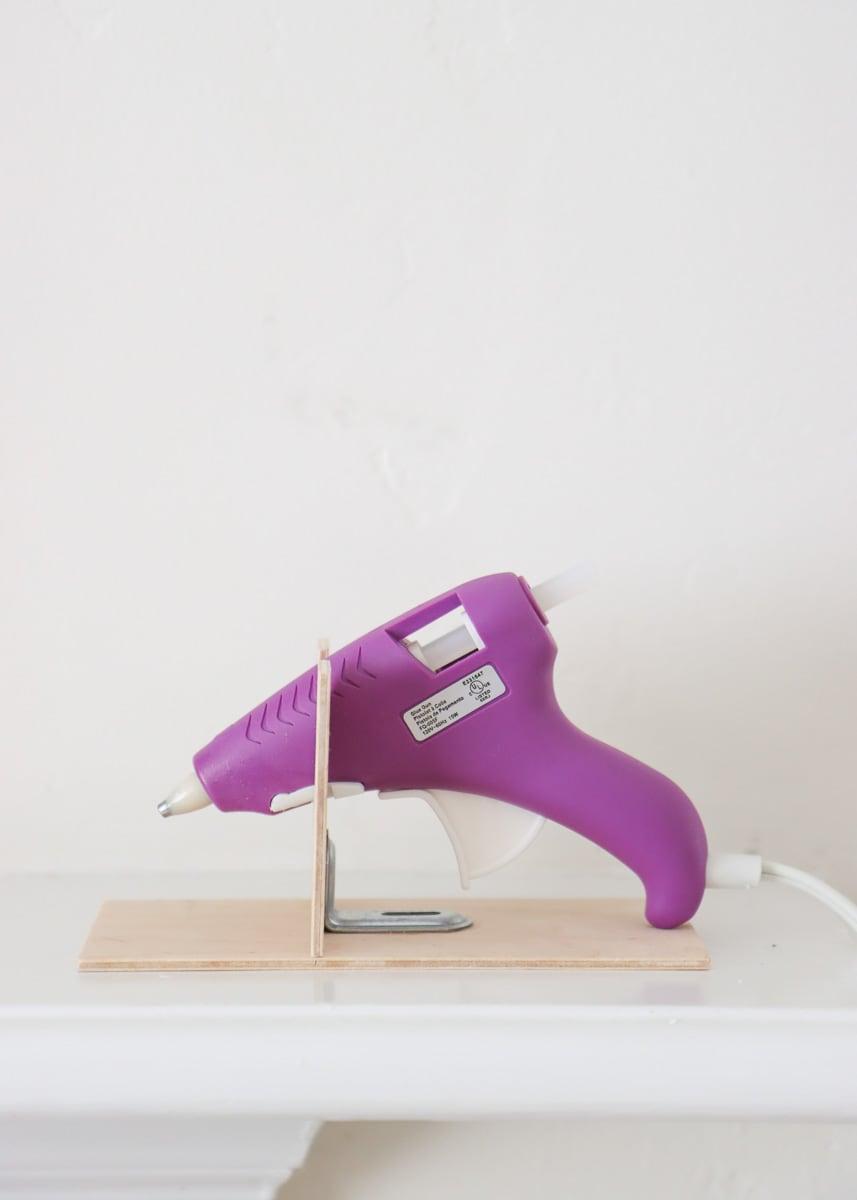 diy hot glue gun stand using wooden boards