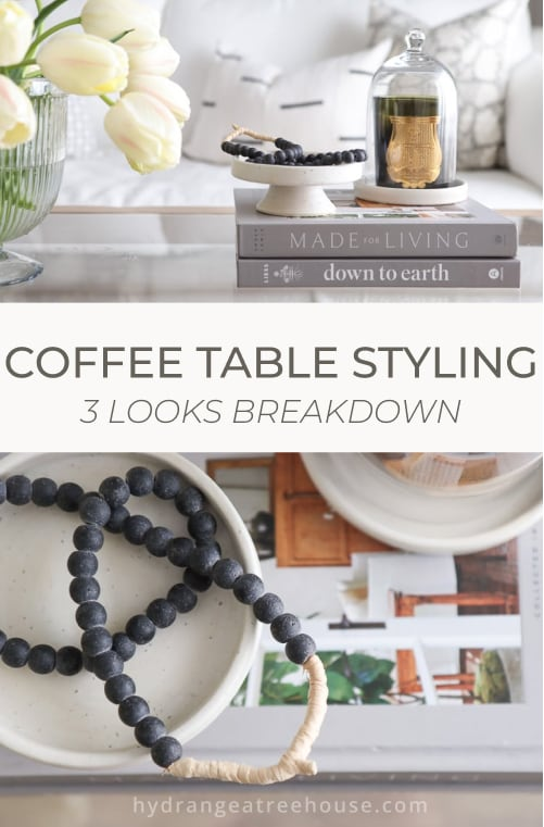 glass coffee table decorating ideas, styling coffee table 3 looks breakdown