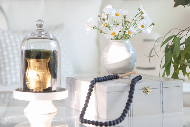 how to style glass coffee table, cire trudon candle