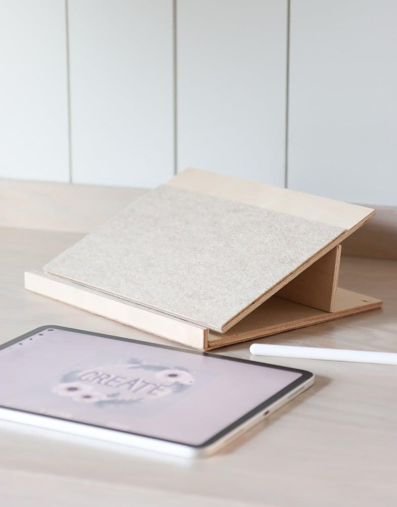 DIY wood iPad pro stand, adjustable tablet holder