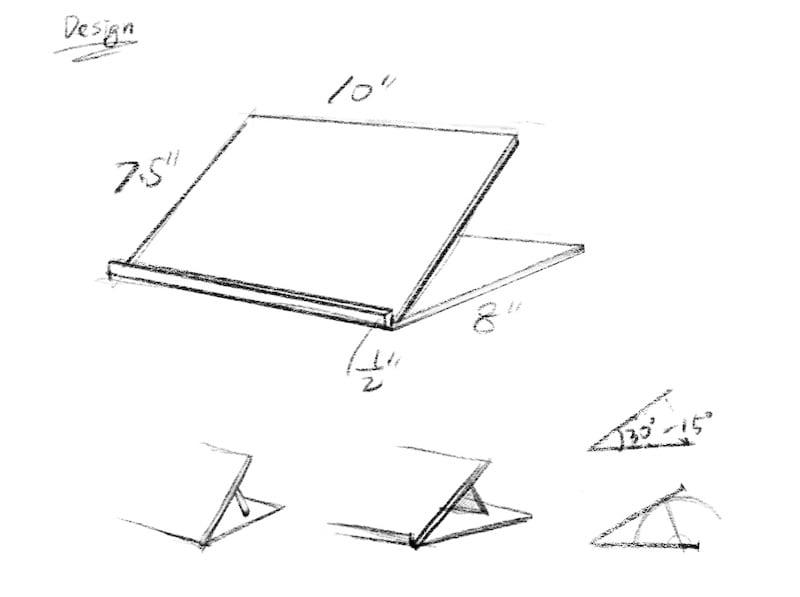 DIY adjustable ipad stand sketch plan