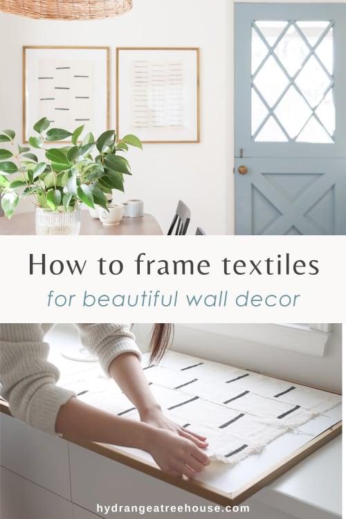 wie man Textilien einrahmt, DIY-Schlammstoff-Wandbilder